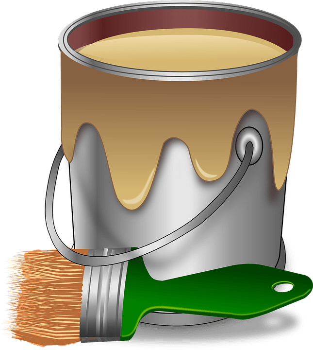 Beige can of paint brush
