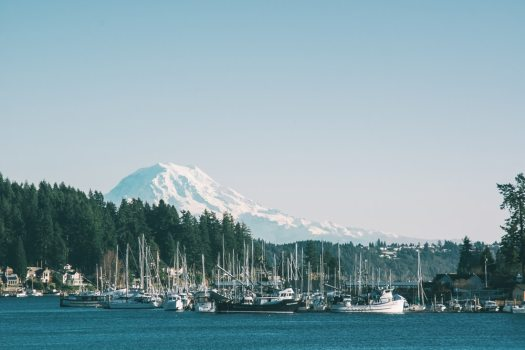 Harbor boats yachts snow capped mountain