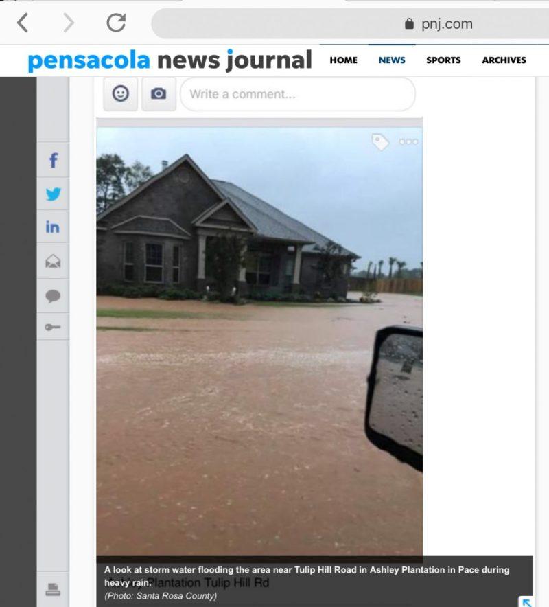 Ashely Plantation Pace FL street flooding