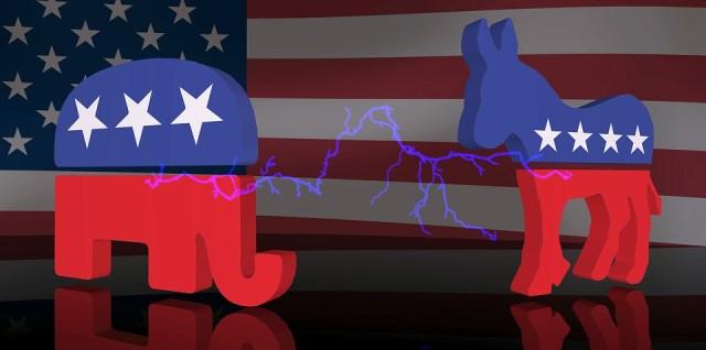 Republican vs Democrat elephant donkey symbols