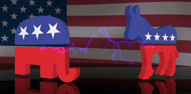 Republican vs Democrat political politics elephant donkey symbols