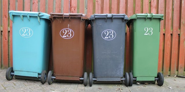 Garbage trash recycling cans bins