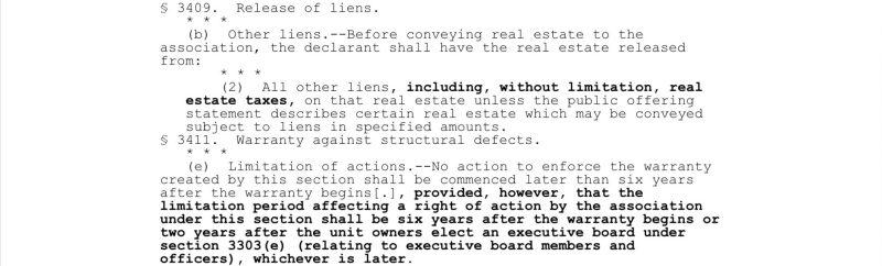 2018 PA Chapter 68 Act 84 Developer Warranty
