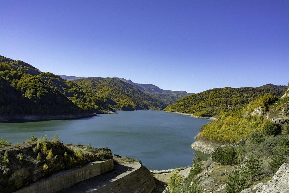 lake dam country hills mountains