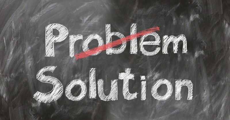 Problems and solutions sign blackboard