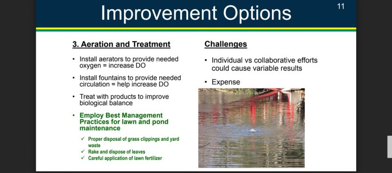 The Dell option 3 aeration of pond creek