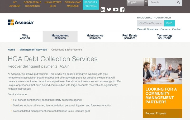 Financial reports, debt collection, and information management In addition to preparing balance sheets, income statements, bank reconciliations and support schedules, FSR offers 'turnkey collection services' as well. Usually, a Third-party company buys the Association's debt, and then aggressively pursues property owners to recover that debt, along with its added collection and attorney fees. Foreclosure is also a possibility when the homeowner is unable to repay the debt, plus fees, when demanded by the collection agency. FSR is also one of several large management companies that works with real estate developers while new homes are built and sold. The company also hosts and manages its client Associations' websites. And I can tell you that FSR and other large management companies tend to hide 99% of HOA community information behind a members-only password protected firewall. As a potential buyer, you won't find any useful information about the Association, unless you're willing to request and buy documents through the management corporation's affiliated document database. These disclosure document fees can add up to hundreds of dollars, although some state laws now cap fees for documents, much to the disappointment of management companies.