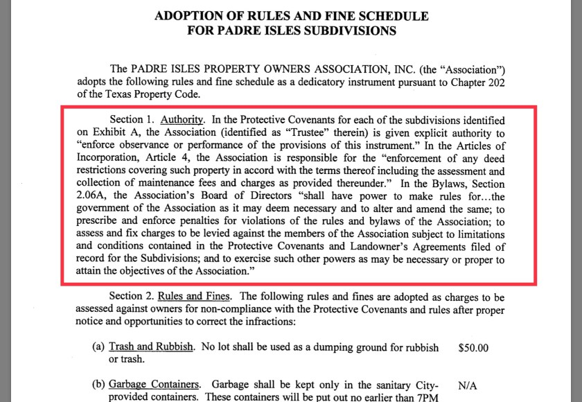 Padre Isles bylaws adopted 2018