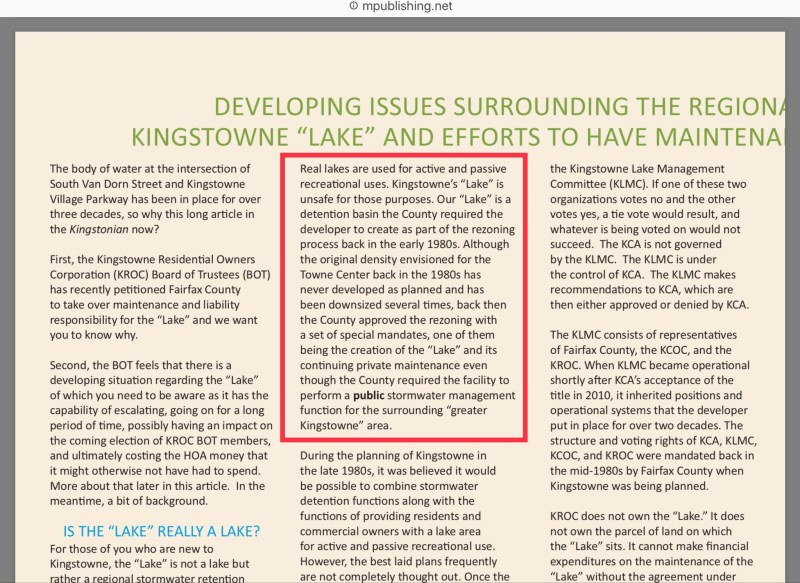 Kingstonian article on Kingstowne Lake