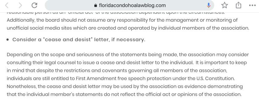 Becker legal blog on free speech