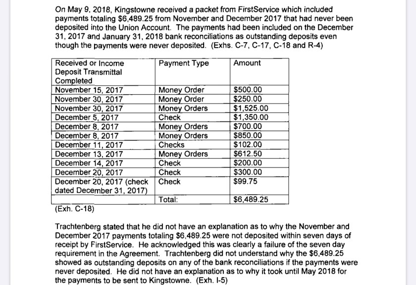 FirstService DC consent order screen shot
