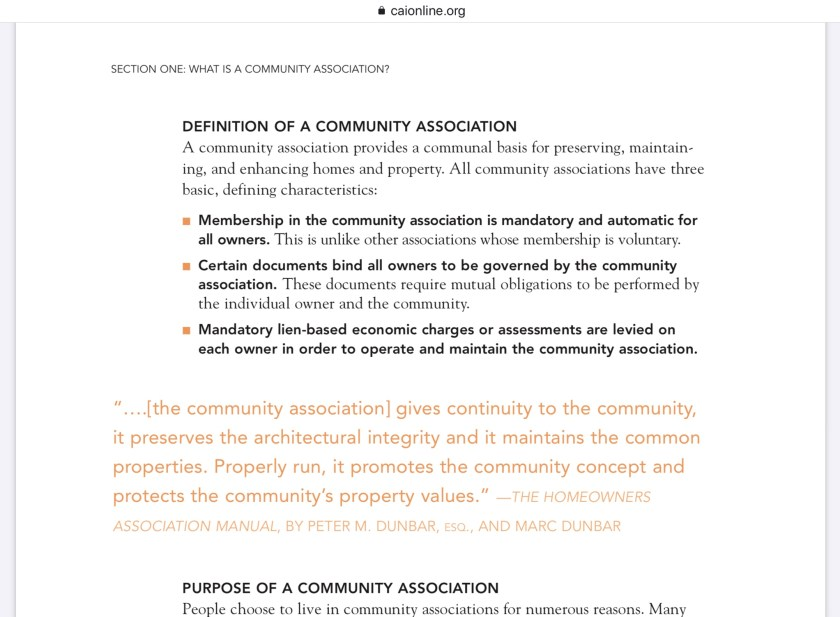 CAI what is a community association