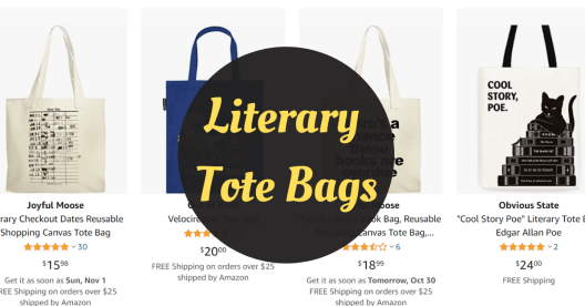 literary tote bags are great gifts for book lovers.