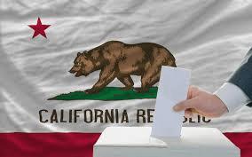 ca flag and ballot box