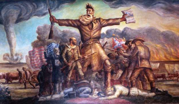 'Tragic Prelude,' a mural painted by John Steuart Curry, depicts John Brown's role in 'Bleeding Kansas,' with the bloodshed, fire and tornado hinting at the coming Civil War.