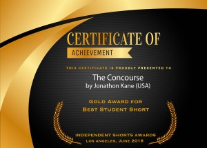 "ISA Certificate of Achievement for ""The Concourse"" directed by Jonathon Kane"