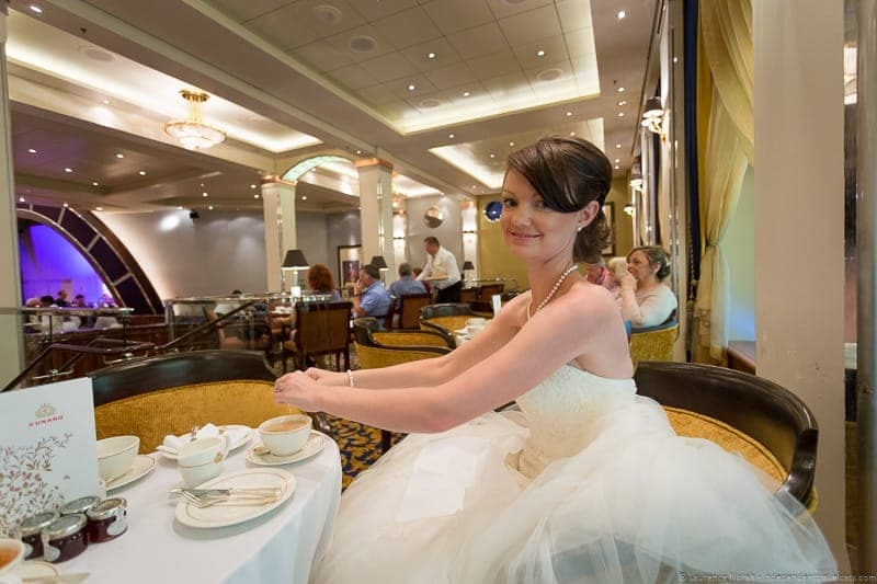 Cunard Queen Mary 2 wedding at sea cruise afternoon tea