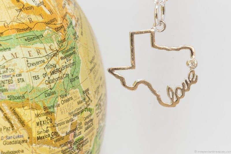 Texas necklace travel jewelry traveling inspried jewellery