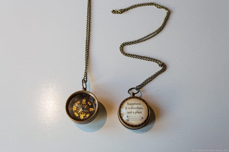 compass necklace travel jewelry traveling inspried jewellery