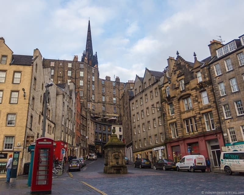 West Bow street Grassmarket Harry Potter sites in Edinburgh Scotland J.K. Rowling