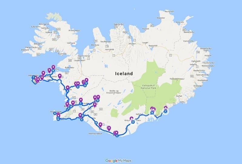 1 week Iceland 7 day itinerary for winter route map driving