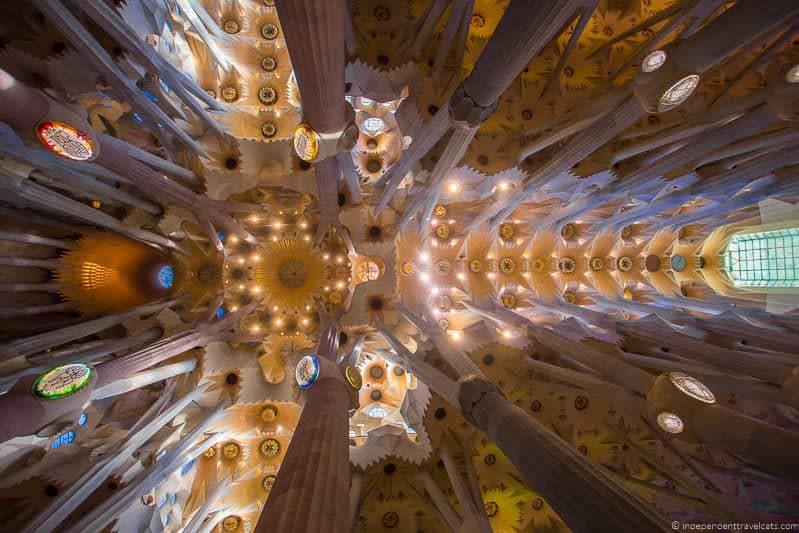 Sagrada Família ceiling guide to Gaudí sites in Barcelona Spain