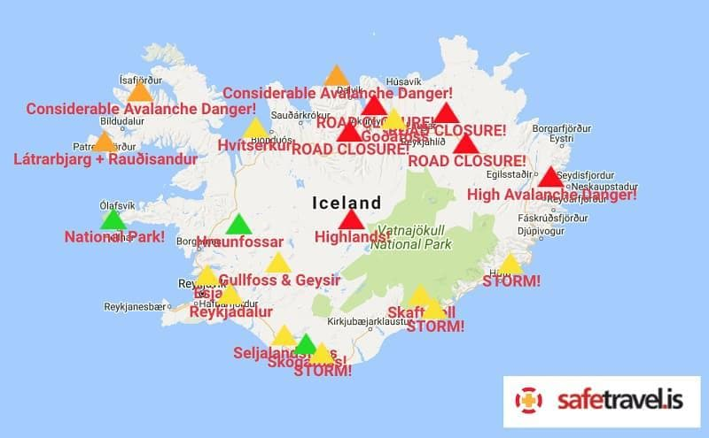 road conditions driving in Iceland in winter tips during winter months
