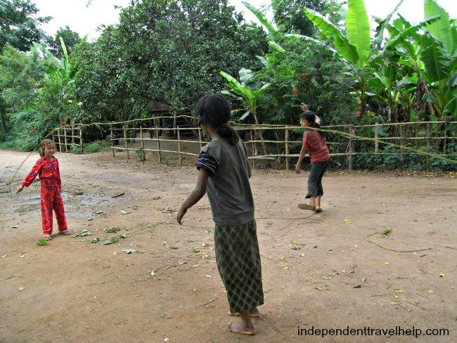 Cambodia, island, koh pen, children, skipping, asia