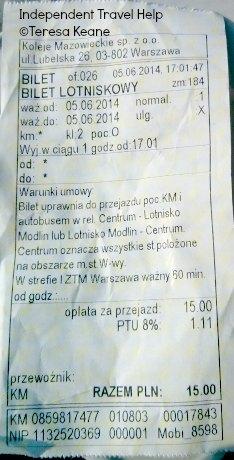 Modlin to Warsaw C train ticket