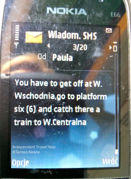Text message with train details