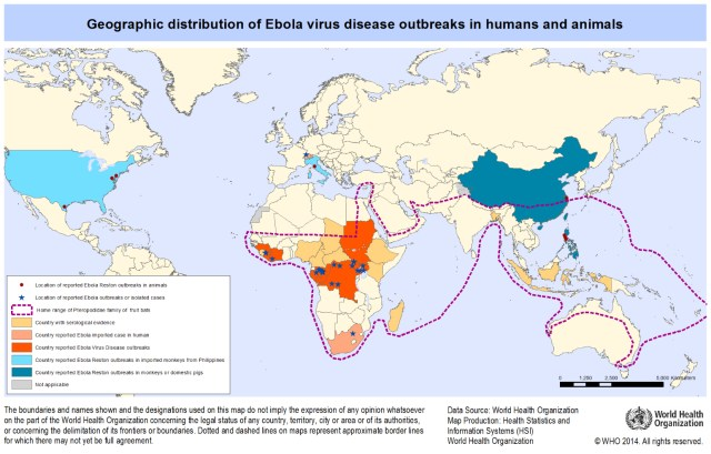 Figure 6: Geographic distribution of EVD outbreaks in animals and humans [2014].