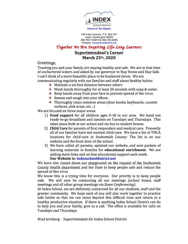 Superintendent's Corner March 2020