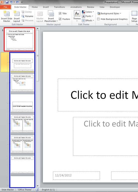 Status Bar In Powerpoint : status, powerpoint, Slide, Layouts, Within, Master, PowerPoint, Windows