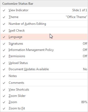 Status Bar In Powerpoint : status, powerpoint, Language, Options, Status, PowerPoint, Windows