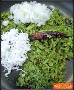 The finely diced onion and the grated coconut to be tossed with the green bean mixture just before serving