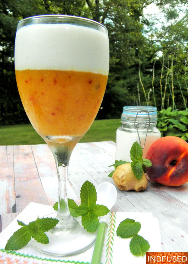 #Nutritious #lassi combining the #goodness of #kefir #chia seed,# peaches and #ginger. It is a #quick and #easy, #lowfat and #delicious #breakfast or #dessert option!