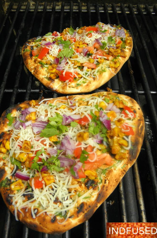 #Indiancuisine #Indian #fusion #Grilled #Naan #Pizza with #Chutney #sauce, ,#cheese and#summerbounty #toppings of #corn, tomatoes, onion and#cilantro