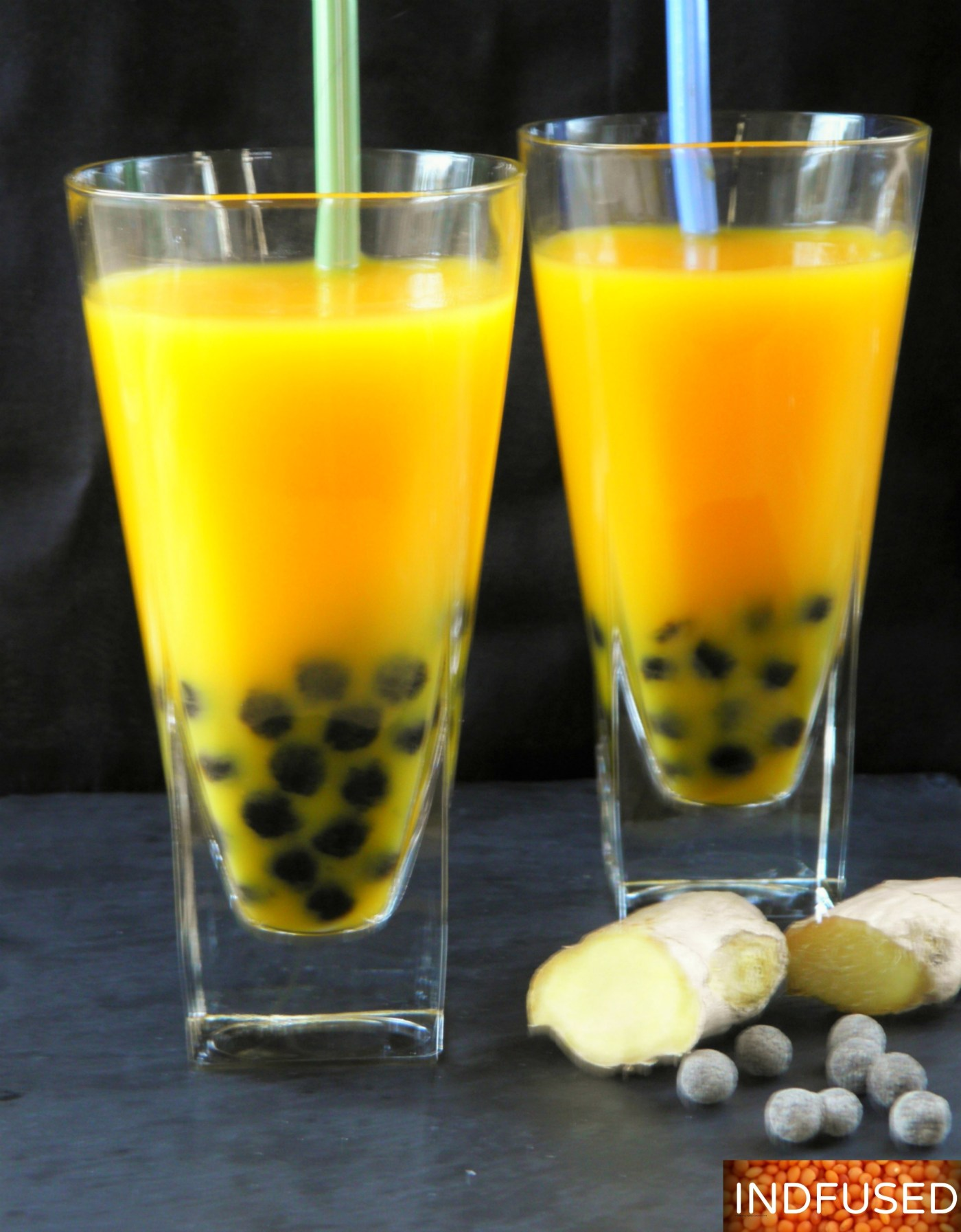 Healthy recipe for Gluten free boba combined with mango, ginger,green tea and Stevia, is a cool summer drink!