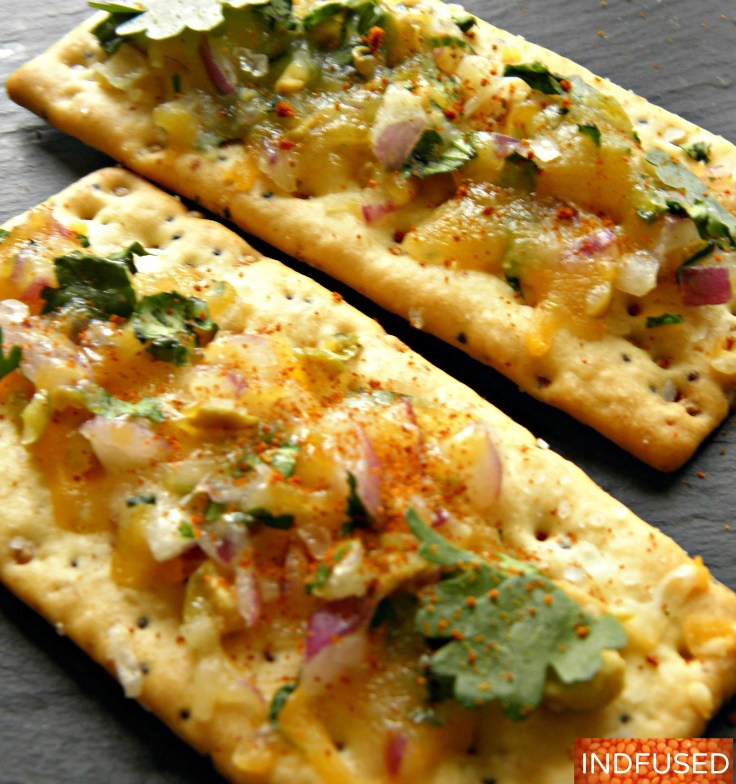 Quick and easy Savory Cheese bread using Indian herbs with Pillsbury Grand Biscuits or Nabisco crackers and Kraft shredded Mexican Cheese. Perfect for #Thanksgiving