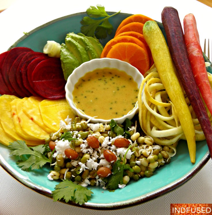 Healthy Indian fusion recipe for sprouted mung bean salad with veggies and an easy homemade dressing.