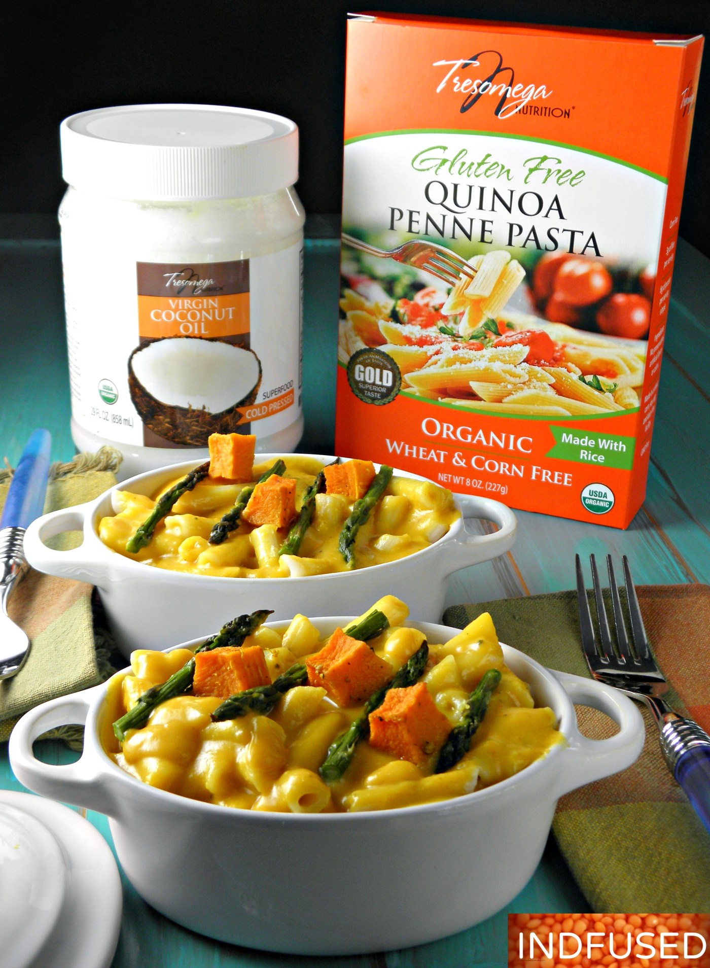 GF, vegan,healthy and delicious quinoa penne pasta with gourmet butternut squash sauce