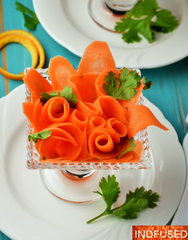 #Moroccan inspired carrot salad with #traderjoesharissa, orange and lime juices and honey. Using #zylissmandolin makes it super easy to make this #salad