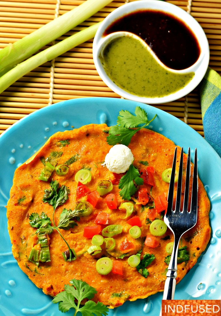 Tomato Omlette with Oats and Scallions- gluten free savory, protein rich pancake, Indian fusion recipe, makes 8 pancakes. Easy vegetarian weekday meal!