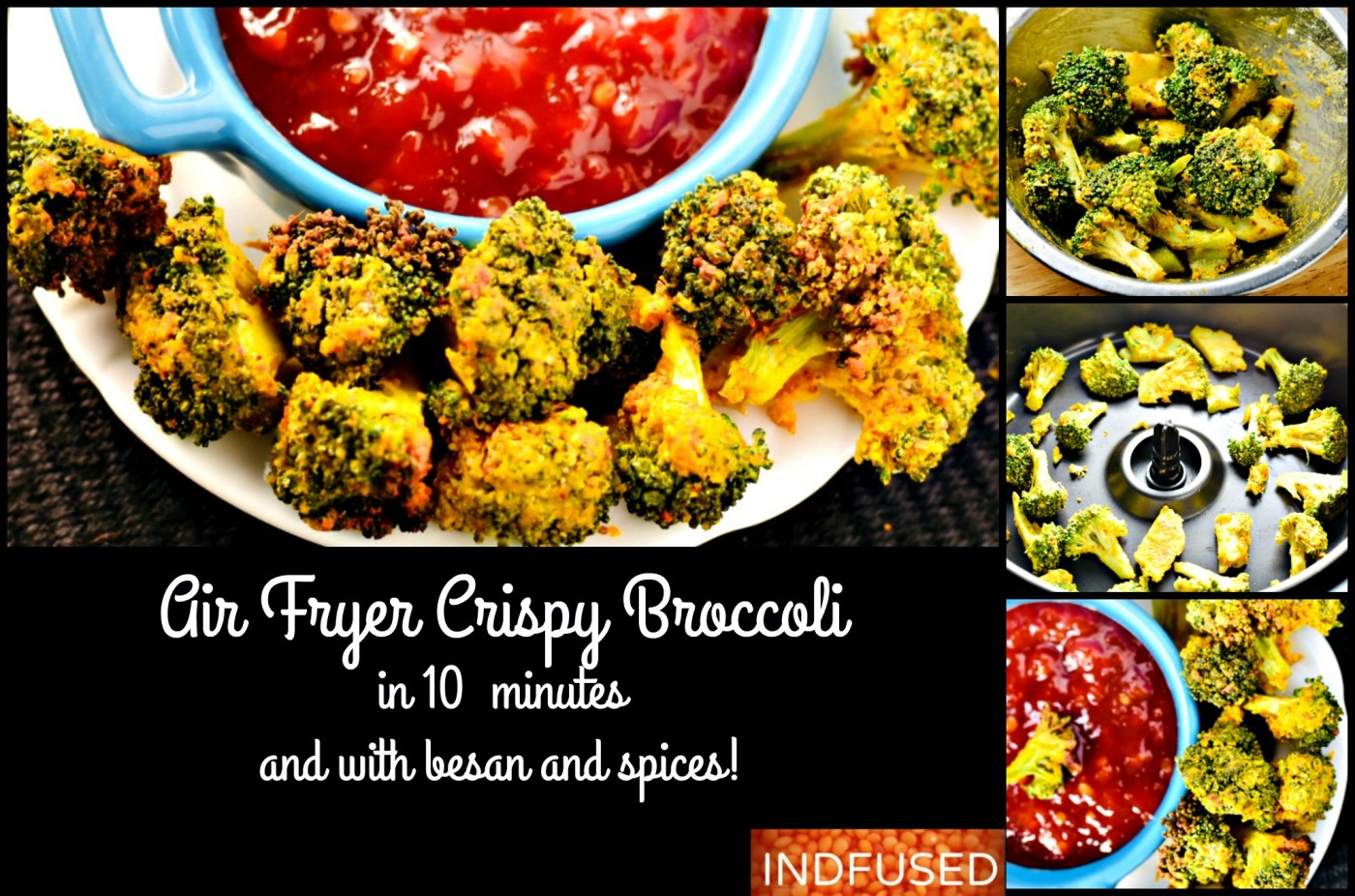 Air Fryer Crispy Broccoli with Besan and Spices, ready in 10 minutes!