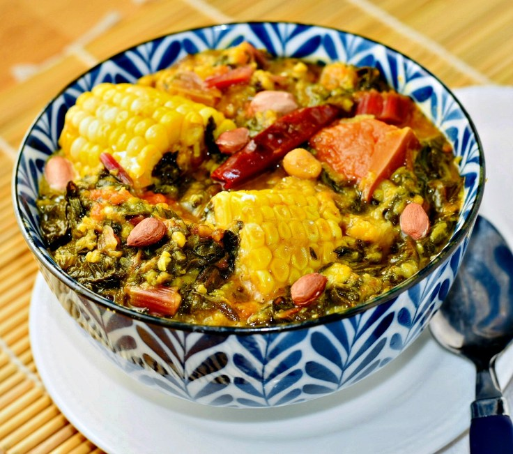 Red Swiss Chard Bhaji in Instant Pot- Delectable , lightly spiced curried Swiss chard. Corn and pumpkin complement the favors! Serves 8