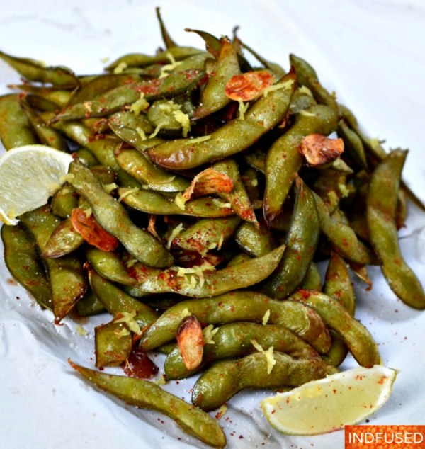Air Fryer Garlicky Spiced Edamame in 17 minutes!