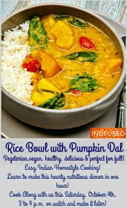 Rice bowl with Pumpkin Dal and Spinach