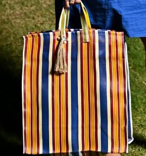 Blue Striped Plastic Tote Bag