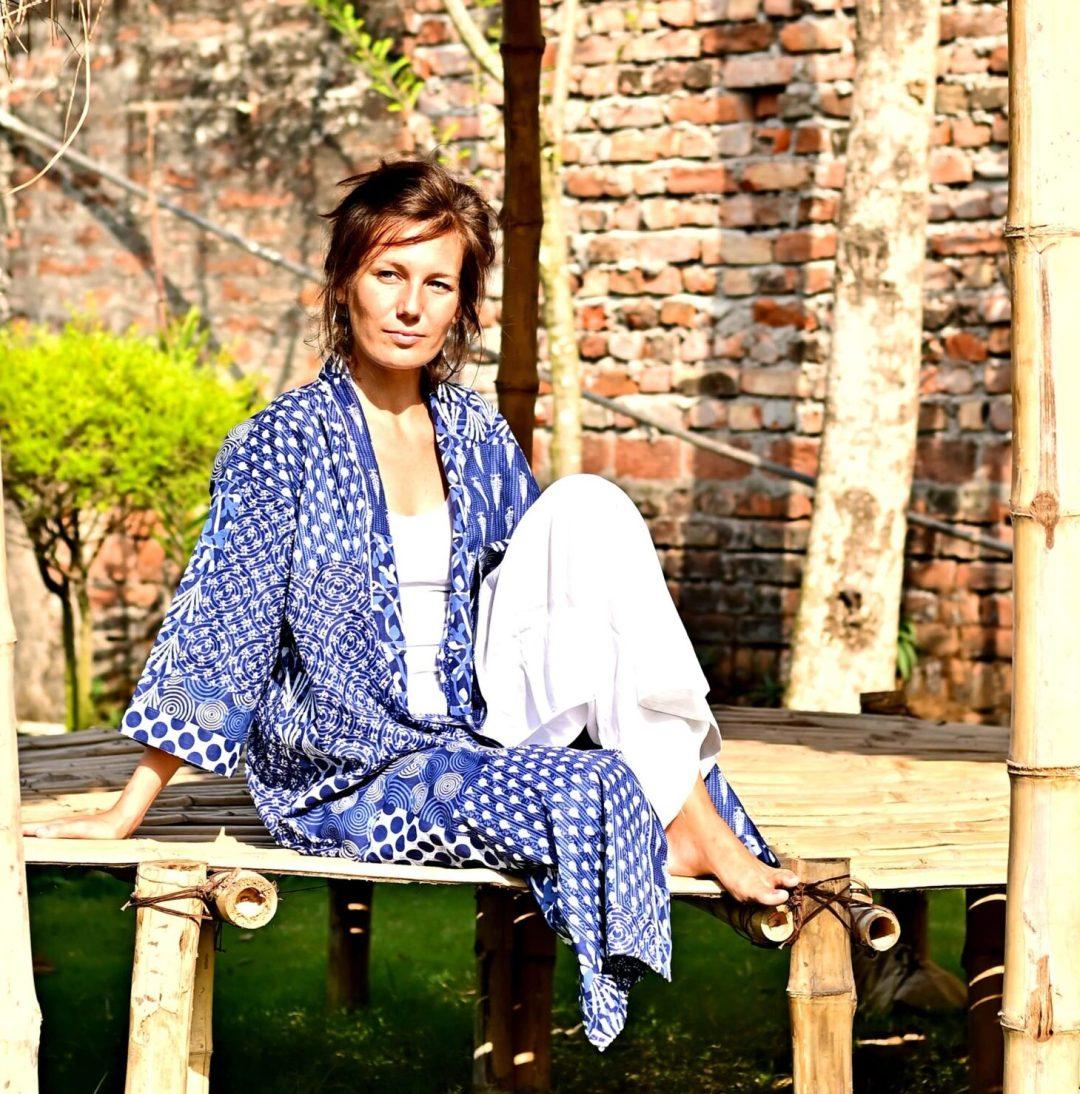 blue white kimono