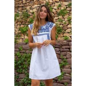 White Embroidered Dress with Blue